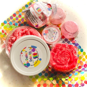 Red ROMANCE Spa gift set including Treasure Bath Bomb, Shower Steamer, Sugar Scrub AND Lotion Bar with FREE shipping.
