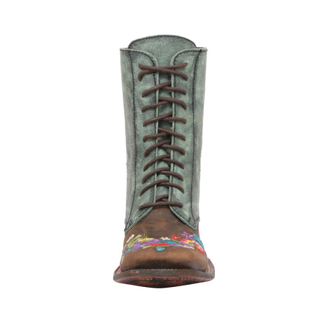 BOTA LACE UP CAFÉ/TURQUESA MEA033