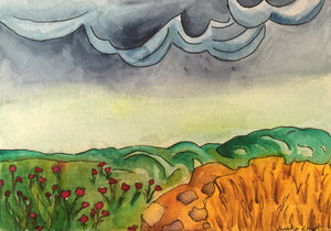 Mini Watercolor Poppy Field