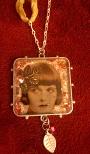 Lady with Leaves Bezel Pendant