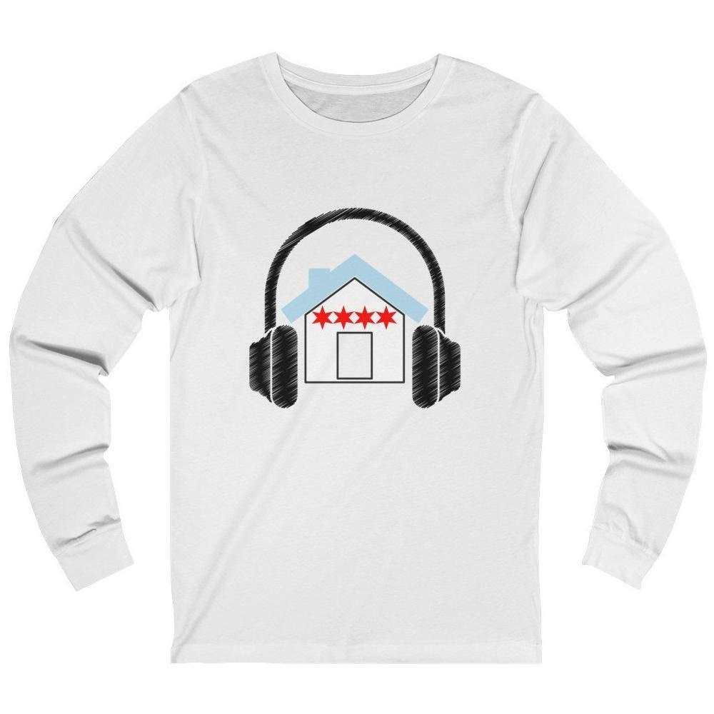 Chicago House Music Flag Long Sleeve shirt white