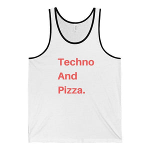 Techno And Pizza Tank Top black and white