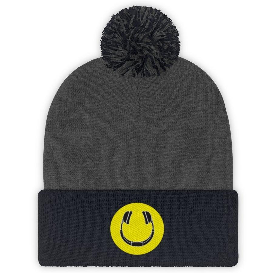 Smiling Headphones Puff Beanie