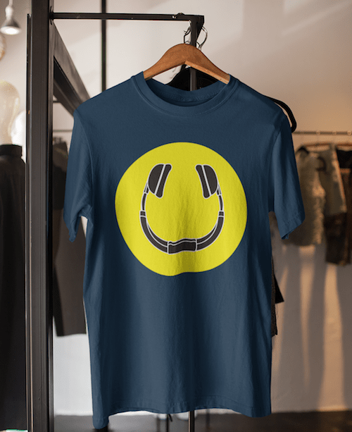 Smiling Headphones Shirt Navy