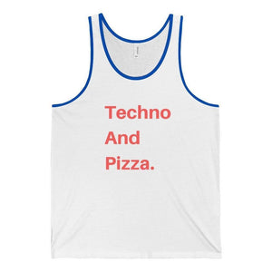 Techno And Pizza Tank Top white