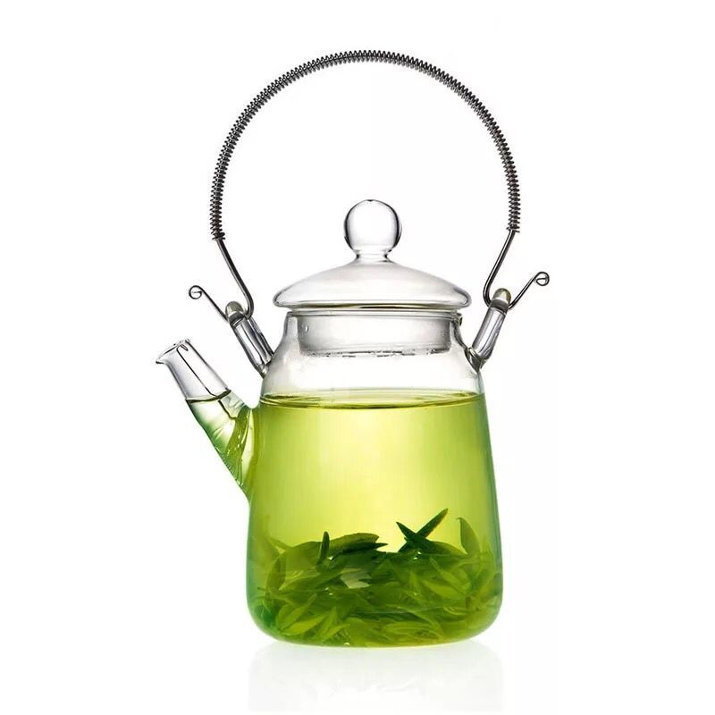 Lovely glass teapot 300 ml with metal handle for mindfulness emotea
