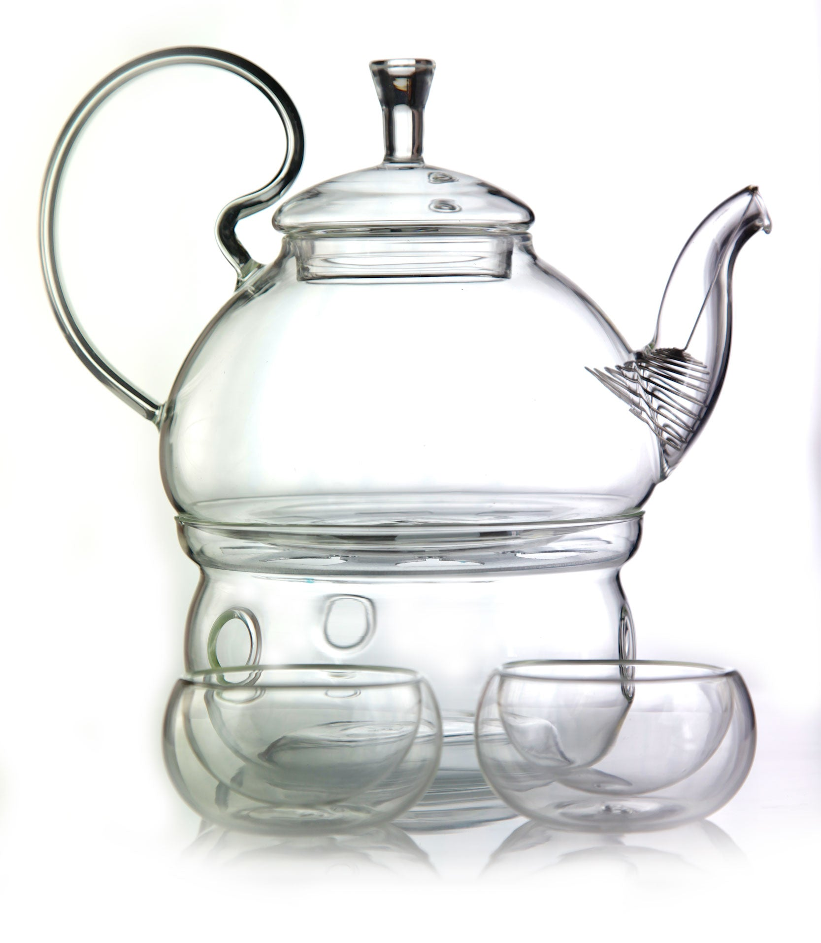 for two set glass teapot 600 ml with cups and warmer base for mindfulness emotea