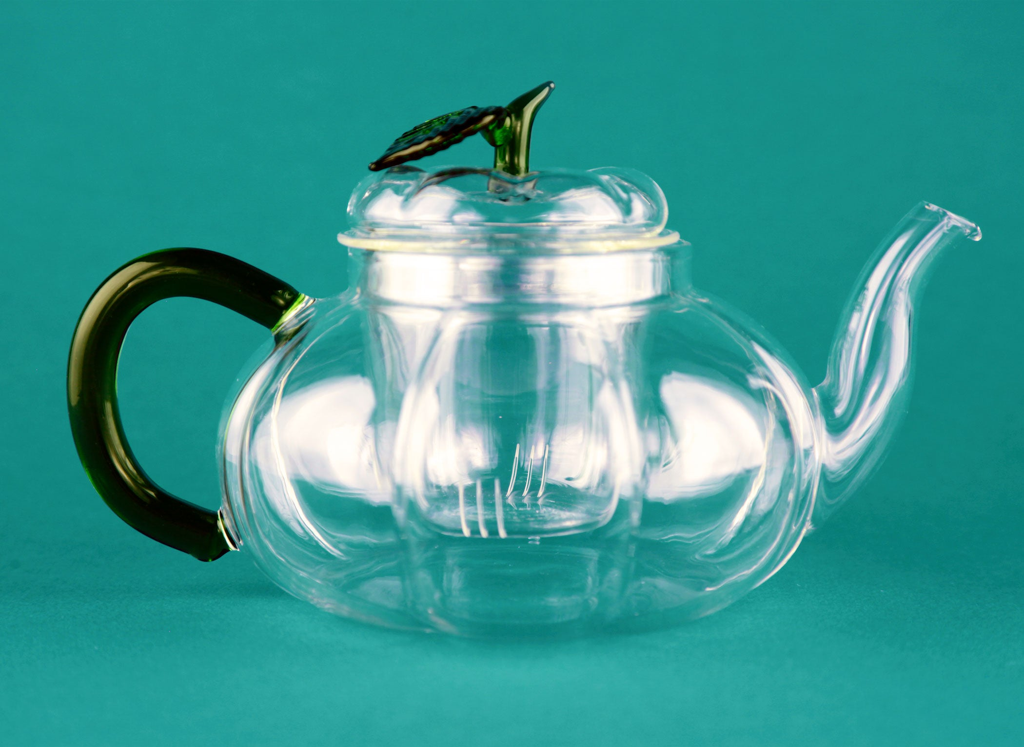 Green handle glass teapot 700 ml with infuser for emotea