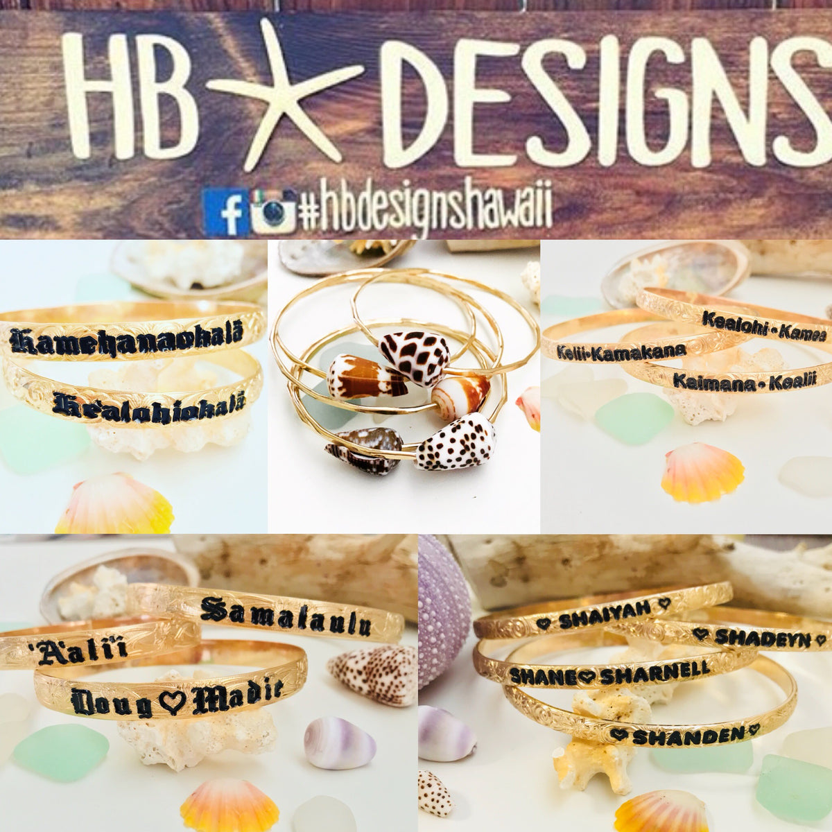 Island style jewelry, locally handcrafted on the Big Island. Shells are handpicked throughout the shores of the Hawaiian Islands. Orders are also accepted through text (808) 217-0004. Find us on instagram for more updates @hbdesignshawaii