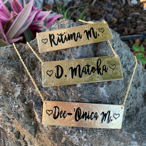 24mm Hawaiian Scroll and Flower Gold Filled Name Plate (10 letters)