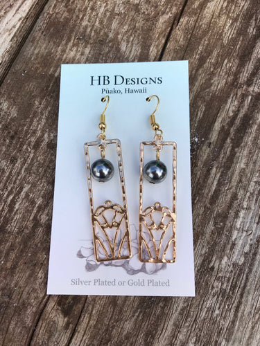 Hamilton Gold-Plated Rectangle Turtle Earrings W/Pearl Bead