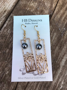 Hamilton Gold-Plated Rectangle Tiare Earrings W/Pearl Bead