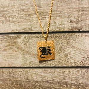 27mm Gold Filled INITAL PENDANT Hawaiian Font (1 letter)