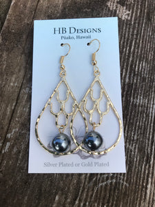 Hamilton Gold-Plated Mermaid Scale Teardrop Earrings W/Pearl Bead