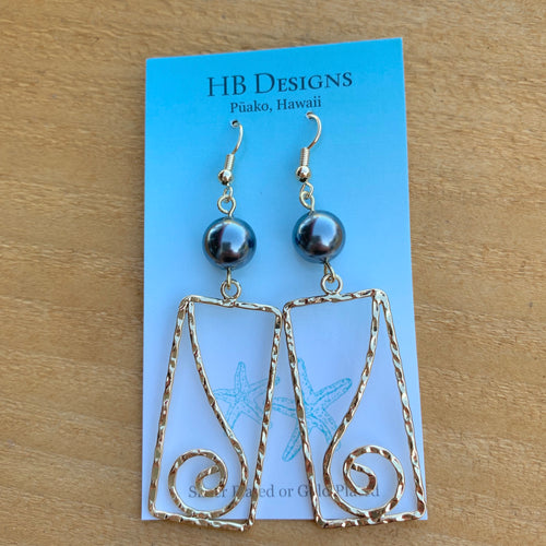 Hamilton Gold-Plated Rectangle Piko Earrings W/Pearl Bead