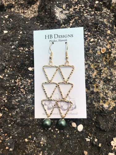 Hamilton Gold-Plated 3 Triangle Earrings W/ Pearl Bead