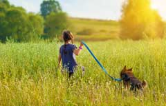 Dog and girl enjoying the countryside