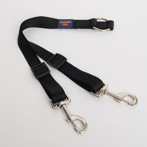 Ginger Ted Black 2-way twin fully adjustable high quality nylon coupler lead. Ideal for walking 2 dogs on a single lead