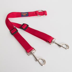 Ginger Ted Red 2-way twin fully adjustable high quality nylon coupler lead. Ideal for walking 2 dogs on a single lead