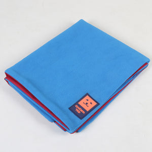 Ginger Ted Blue Cosy Fleece Reversible Dog Blanket. Fleece top side, waterproof base. Ideal for crates, cars and travelling
