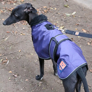 Ginger Ted Navy Waterproof Shower Harness Greyhound Coat. Slot for harness. Warm lining. For whippets, lurchers & greyhounds