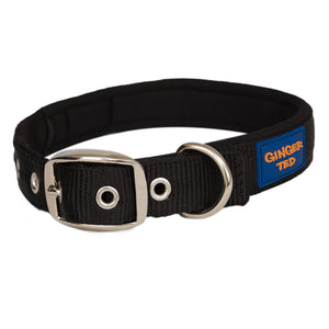 Ginger Ted Black Nylon Dog Collar. Strong quality webbing, neoprene padded, anti-rust fittings. 25mm or 19mm wide