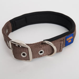 Ginger Ted Brown Nylon Dog Collar. Strong quality webbing, neoprene padded, anti-rust fittings. 25mm wide