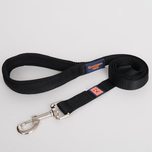 Ginger Ted Black Nylon Dog Lead. Strong 25mm quality webbing, neoprene padded handle. Choice of 1.2m or 1.8m lengths