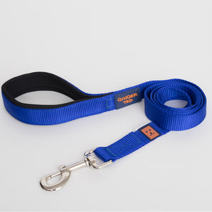 Ginger Ted Blue Nylon Dog Lead. Strong 25mm quality webbing, neoprene padded handle. Choice of 1.2m or 1.8m lengths