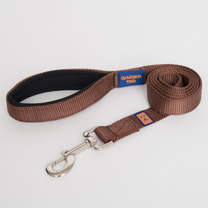 Ginger Ted Brown Nylon Dog Lead. Strong 25mm quality webbing, neoprene padded handle. Choice of 1.2m or 1.8m lengths