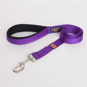 Ginger Ted Purple Nylon Dog Lead Strong 25mm quality webbing, neoprene padded handle. Choice of 1.2m or 1.8m lengths