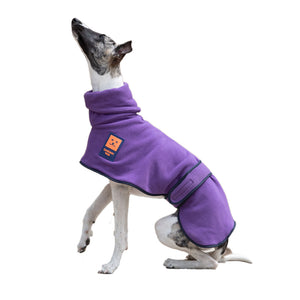 Ginger Ted Purple Cosy Fleece Greyhound Jumper. Washable, warm, harness slot. Suitable for whippets, lurchers & greyhounds