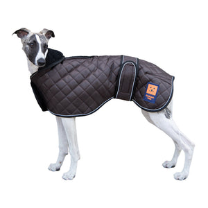 Ginger Ted Thermal Quilted Greyhound Coat. Warm fleece lining, reflective piping, harness slot. For whippets, lurchers & greyhounds