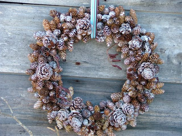 Frosted Mixed Pine Cone Wreath