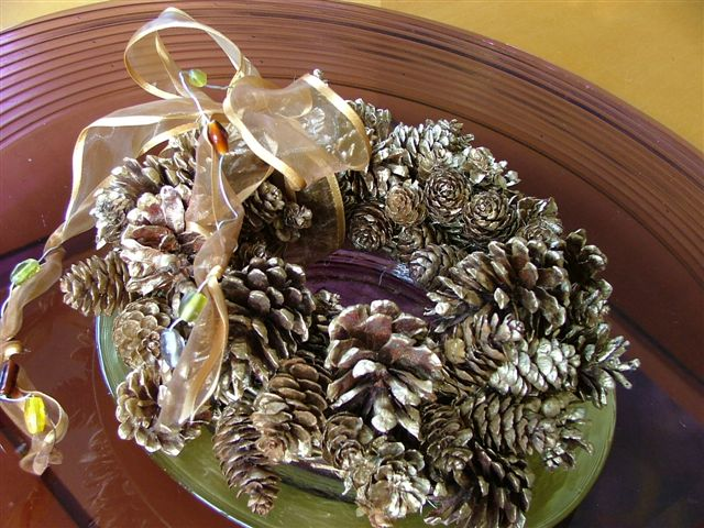 Gold Pine Cone Wreath
