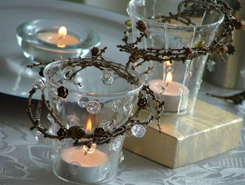 Tamarack Tea Light Candle Ring with Votive & Candle