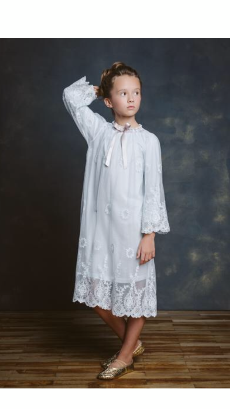 CAROLINE SKI BlUE LACE NIGHTGOWN