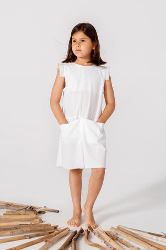 Girl's White Dress with Pockets