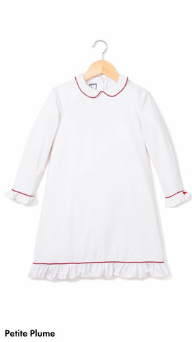 White Sophia Nightgown with Red Piping