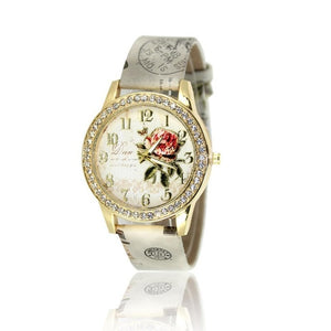 Retro-Style Casual Fashion Rhinestone Red Floral Pointer Rose Blue Pin Buckle Quartz Women Watch  White Gray Round