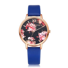 Watch Dial Band Quartz Wrist Rose Floral Synthetic Women Casual Watches Leather