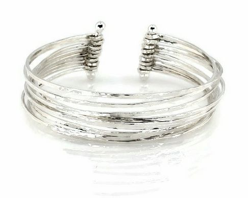 9-Strand Sterling Silver Textured Cuff