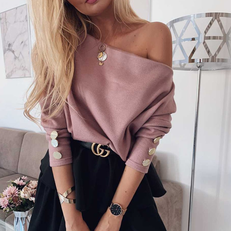 Off Shoulder Knitted Sweater