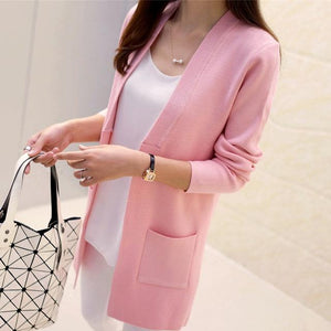 high Quality Women Spring Autumn Medium-long Cardigan