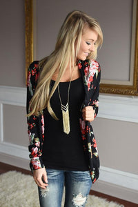 Women Fashion Irregular Neck Floral Print Cardigan Btmfashion