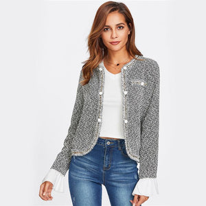 Collarless Single Breasted Fitted Office Lady Blazer Btmfashion