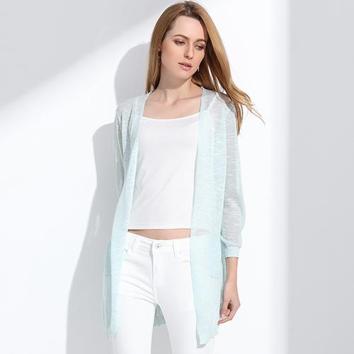 Summer Long Cardigan Btmfashion Light blue One Size