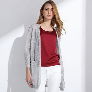 Summer Long Cardigan Btmfashion Lihgt gray One Size