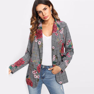 Multicolor Shawl Collar Pocket Casual Floral Blazer Btmfashion