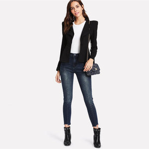 Black Structured Shoulder Blazer Btmfashion
